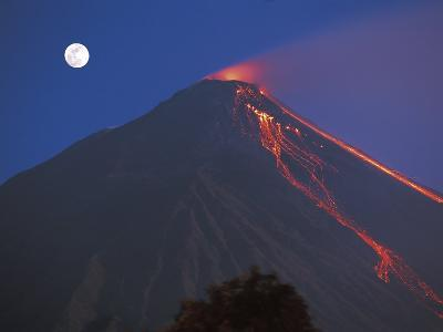 Siau Volcano Erupting with Moon Behind, N Sulawesi, Indonesia-Jurgen Freund-Photographic Print
