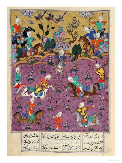 "Siavosh Playing Polo with Afrasiab, from ""Firdawsi's Shahnama""--Giclee Print"