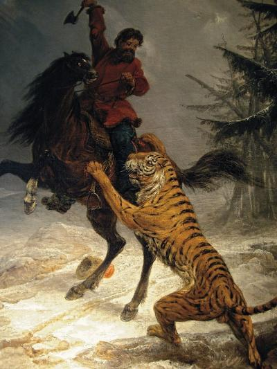 Siberian Tiger Attacking a Cossack--Giclee Print