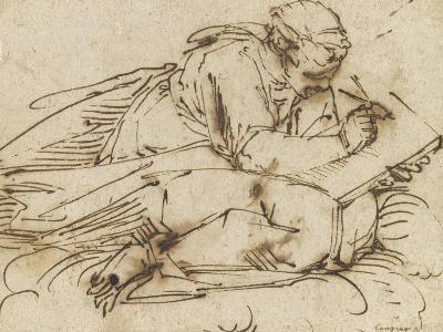 Sibylle accroupie, écrivant-Luca Cambiaso-Giclee Print