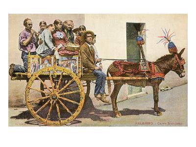 Sicilian Cart and Donkey, Palermo, Italy--Art Print