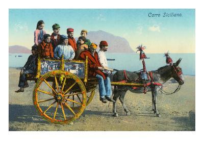 Sicilian Cart with Donkey, Italy--Art Print