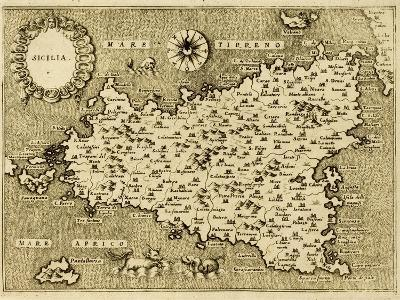 Sicily Old Map, May Be Approximately Dated To The Xvii Sec-marzolino-Art Print