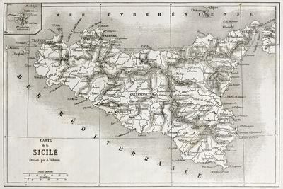 image regarding Printable Map of Sicily called Sicily Previous Map With Stromboli Isle Increase Map Artwork Print as a result of marzolino