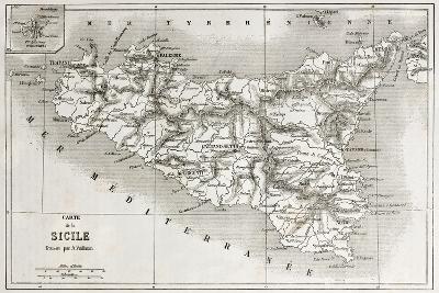 Sicily Old Map With Stromboli Isle Insert Map-marzolino-Art Print