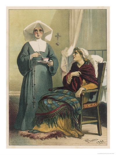 Sick Looking Patient and Her Nurse-D^ Euesbio-Giclee Print