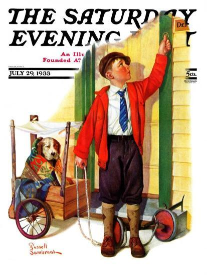 """""""Sick Pooch,"""" Saturday Evening Post Cover, July 29, 1933-Russell Sambrook-Giclee Print"""