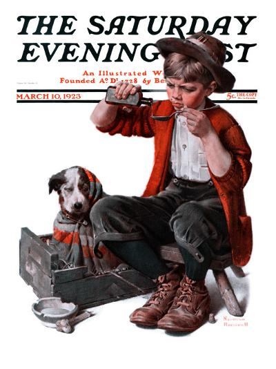 """""""Sick Puppy"""" Saturday Evening Post Cover, March 10,1923-Norman Rockwell-Giclee Print"""