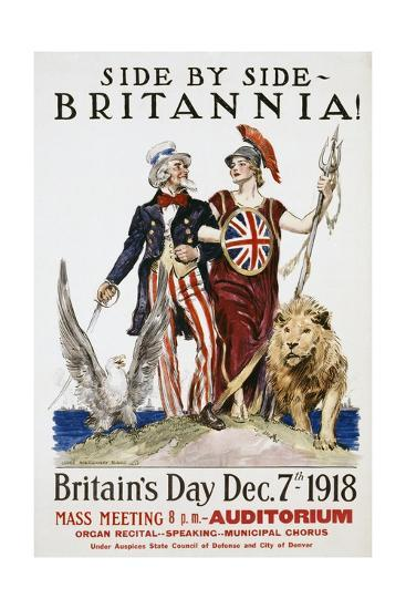 Side by Side - Britannia! Poster-James Montgomery Flagg-Giclee Print