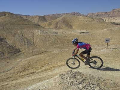 Side View of Competitior in the Mount Sodom International Mountain Bike Race, Dead Sea Area, Israel-Eitan Simanor-Photographic Print