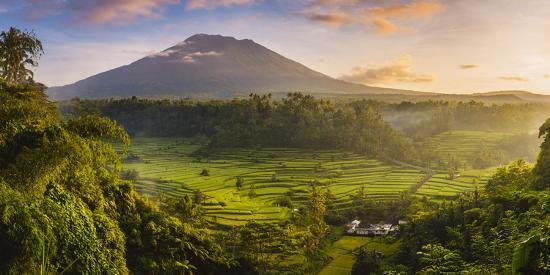 Sidemen valley, Rendang, Karangasem Regency, Bali, Indonesia. Paddy fields with Gunung Agung (Mt Ag-Marco Bottigelli-Photographic Print