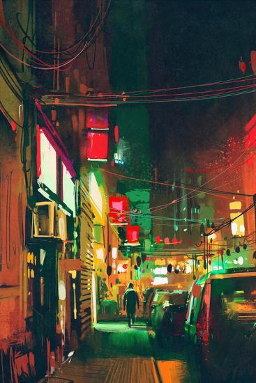 Sidewalk in the City at Night with Colorful Light,Digital Painting-Tithi Luadthong-Art Print