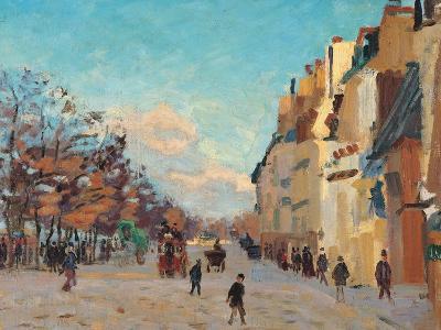Sidewalk, Snow Effect, Paris-Jean-Baptiste-Armand Guillaumin-Giclee Print