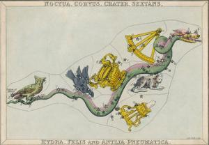 Hydra Constellation Including an Owl a Raven and a Sextant by Sidney Hall
