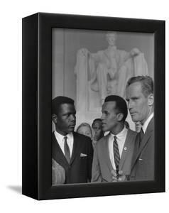 Sidney Poitier, Charlton Heston, and Harry Belafonte at March on Washington, 1963