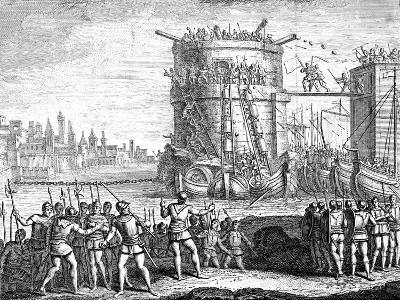 Siege of Damietta, Egypt, 13th Century--Giclee Print