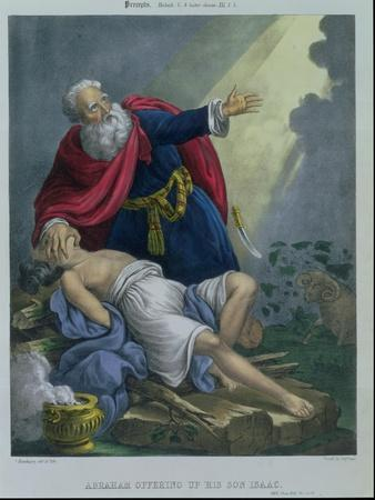 Abraham Offering up His Son Isaac, from a Bible Printed by Edward Gover, 1870s