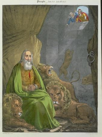 Daniel in the Lions' Den, from a Bible Printed by Edward Gover, 1870s