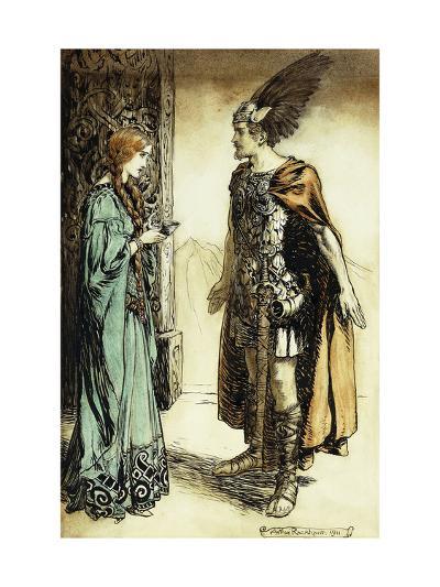 Siegfried meets Gutrune: The Twilight of the Gods-Arthur Rackham-Giclee Print
