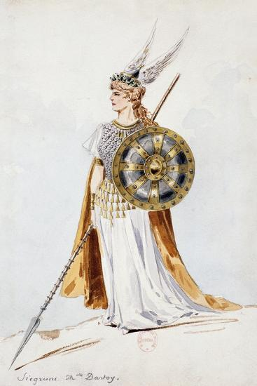 Siegrune, Sketch of Costume for the Valkyrie by Richard Wagner, Created by Charles Bianchini, 1893--Giclee Print