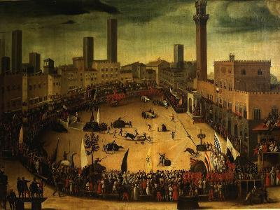 Siena, Italy, Public Entertainment in Square with Bulls, Bear and Wooden Contraptions-Vincenzo Rustici-Giclee Print