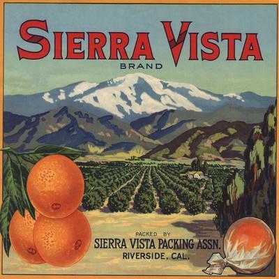 Riverside California Sierra Vista Orange Citrus Fruit Crate Label Art Print