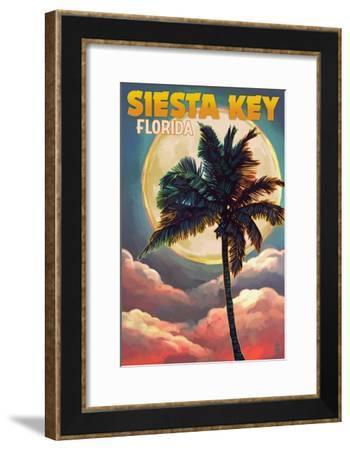Siesta Key, Florida - Palm and Moon-Lantern Press-Framed Art Print