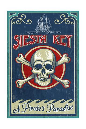 Siesta Key, Florida - Skull and Crossbones - Vintage Sign-Lantern Press-Art Print