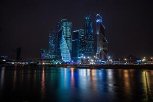 Picturesque Night View of the Moscow City across the River Moscow with Reflection in Water, by siete_vidas
