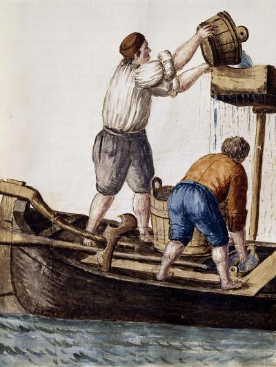 Sifting Canal Waters in Search of Lost Objects from Illustrated Book of Venetian Costumes--Giclee Print