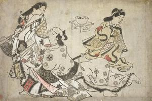 The insistent lover, from an untitled series of erotic prints, c.1684-98 by Sigimura Jihei