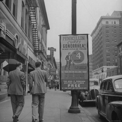 Sign Advertising Penicillin as Treatment For Gonorrhea-Sam Shere-Photographic Print