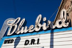 Sign at marquee of the Bluebird Theater, Denver, Colorado, USA
