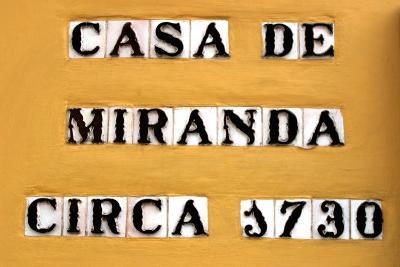 Sign for the Casa De Miranda Circa 1730, Puerto De La Cruz, Tenerife, Canary Islands, 2007-Peter Thompson-Photographic Print