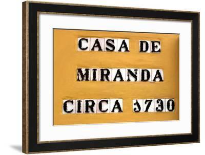 Sign for the Casa De Miranda Circa 1730, Puerto De La Cruz, Tenerife, Canary Islands, 2007-Peter Thompson-Framed Photographic Print