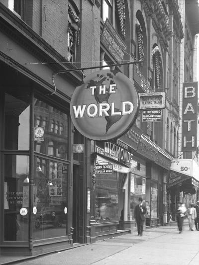 Sign for 'The World,' at 155 W. 125th Street, New York City, June 15, 1916-William Davis Hassler-Photographic Print