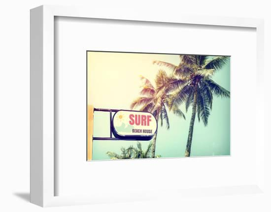 Sign of Surf Beach House-jakkapan-Framed Photographic Print