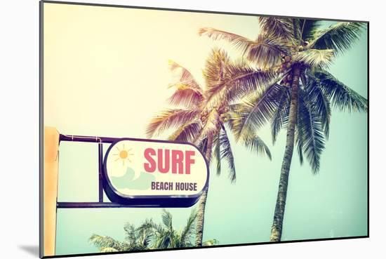 Sign of Surf Beach House-jakkapan-Mounted Photographic Print