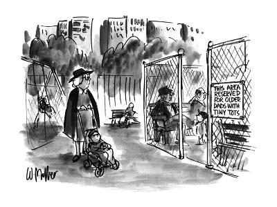Sign on playgrownd gate says 'THIS AREA RESERVED FOR OLDER DADS WITH TINY ? - New Yorker Cartoon-Warren Miller-Premium Giclee Print