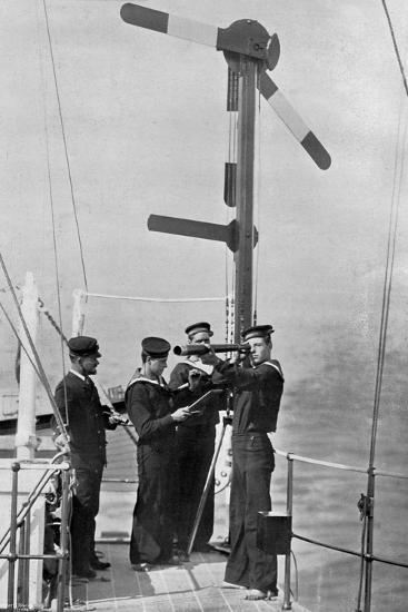 Signalling by Semaphore on Board HMS Camperdown, 1895-Gregory & Co-Giclee Print