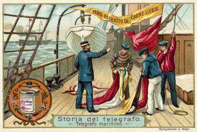 Signalling with Flags at Sea--Giclee Print