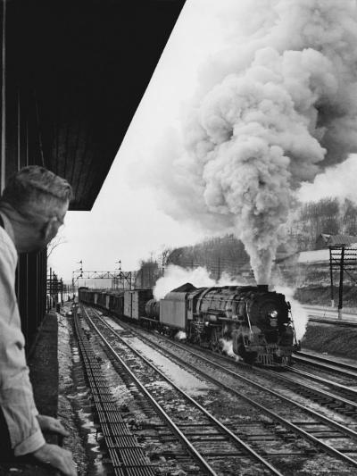 Signalman Nick Carter Watching Oncoming train at Station on the New York Central's Mohawk Division-Alfred Eisenstaedt-Photographic Print