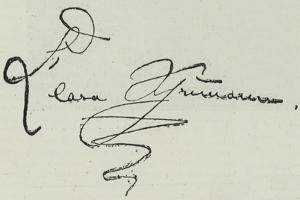 Signature of Clara Schumann