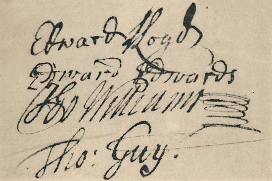 'Signature of Edward Lloyd, 1692', (1928)-Unknown-Giclee Print