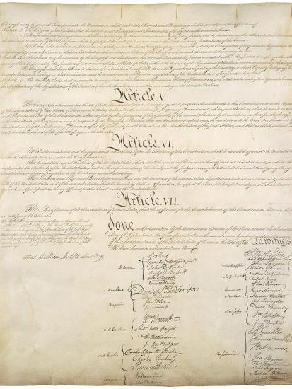 Signature Page of the Constitution of the United States of America, 1787--Art Print