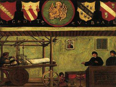 Signboard of Guild of Silk Weaving in Venice, Oil on Panel, Italy, 16th Century--Giclee Print