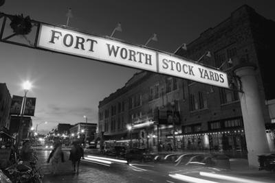 Signboard over a road at dusk, Fort Worth Stockyards, Fort Worth, Texas, USA