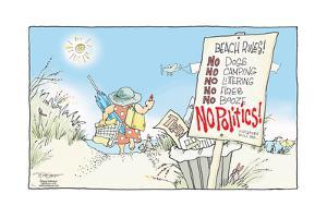 Beach rules! No dogs. No camping. No littering. No fires. No booze. No politics! Violators will be by Signe Wilkinson