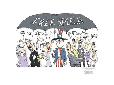 Free Speech. Can you just move it so it doesn't cover them? Freedom of media expression.