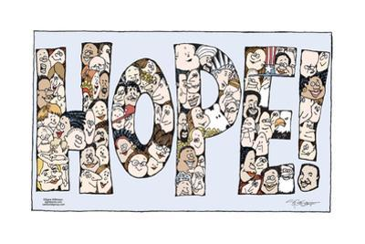 "Hope!  (Faces of all different ethnicities, genders and ages are arranged to spell ""Hope!"".)"